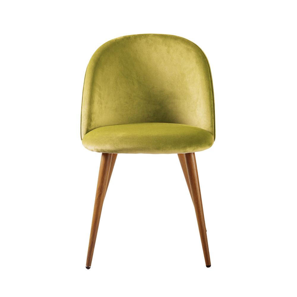 Chaise vintage en velours jaune safran et métal imitation chêne