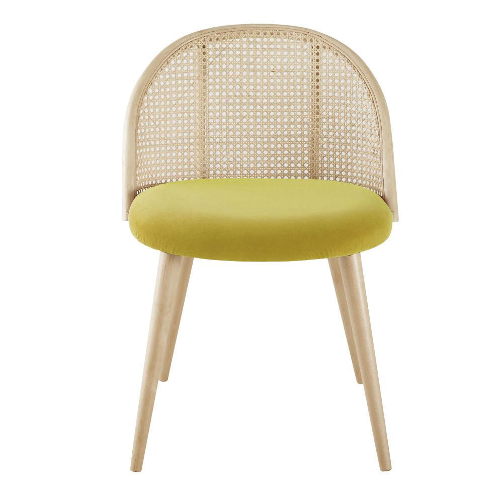 Chaise vintage jaune cannage en rotin et bouleau massif