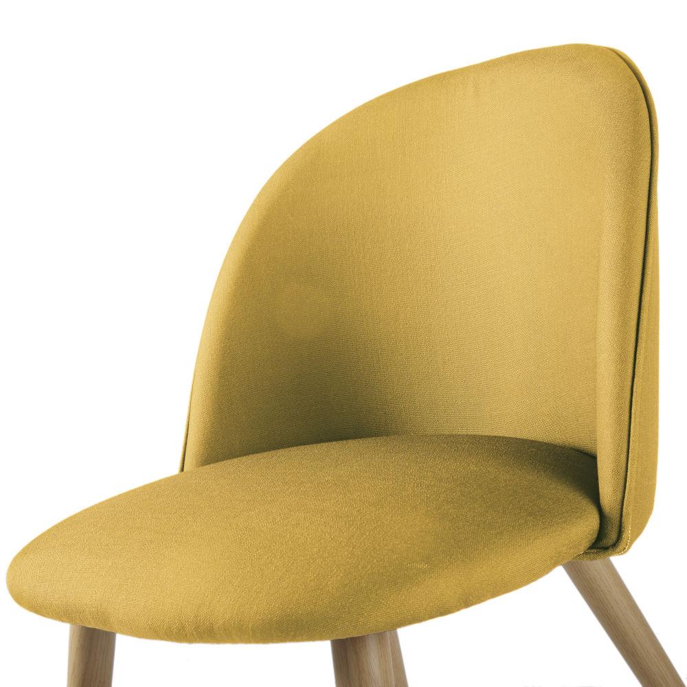 Chaise vintage jaune moutarde et métal imitation chêne