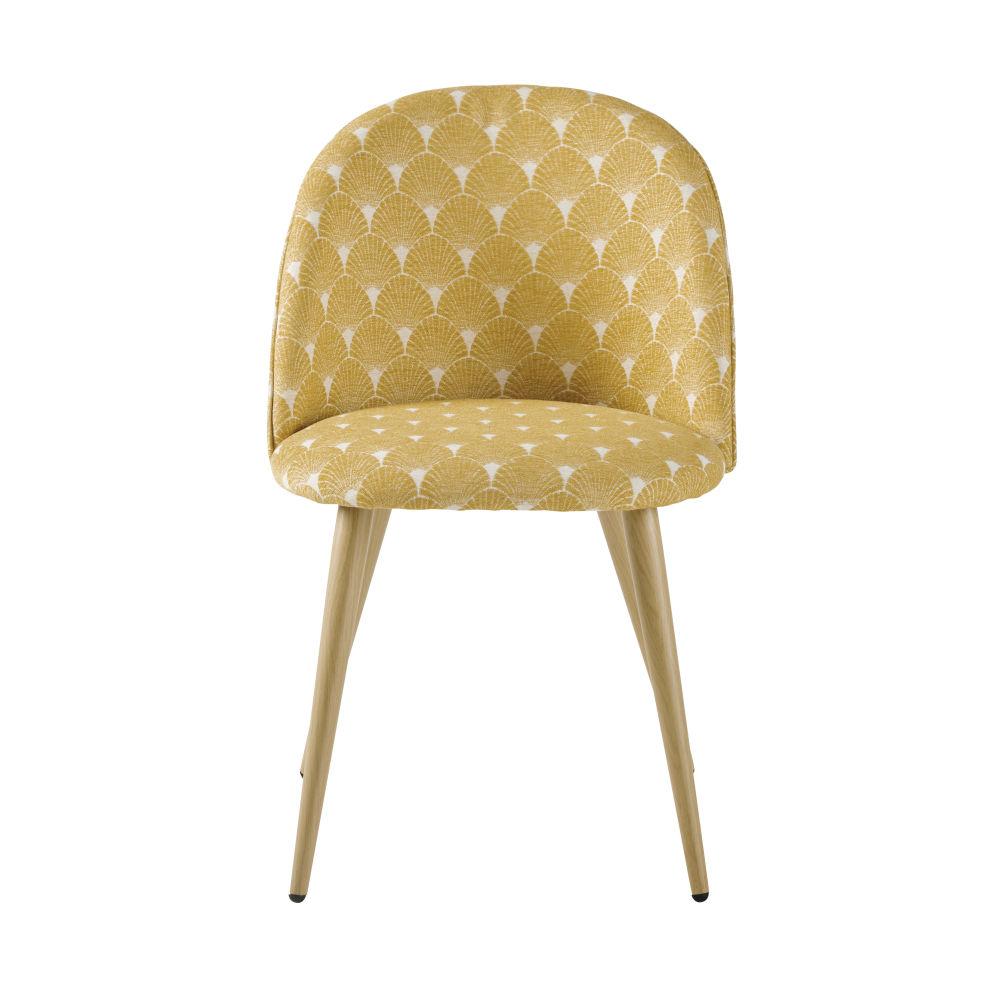 Chaise vintage jaune or motifs coquillages et métal imitation chêne