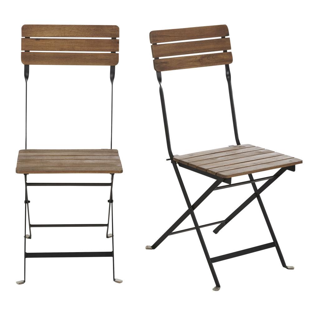 Chaises de jardin en acacia massif et métal noir (x2)