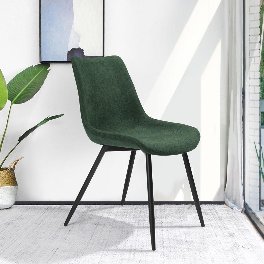 Chaises vertes et métal noir (x4)