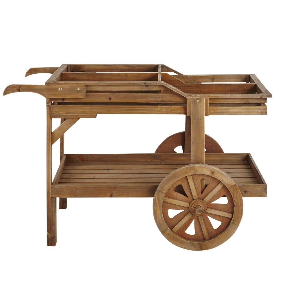 Chariot 2 roues en sapin vieilli