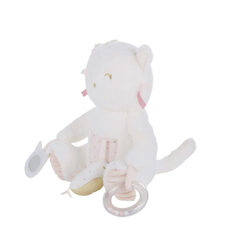 Chat d'éveil bébé blanc et rose
