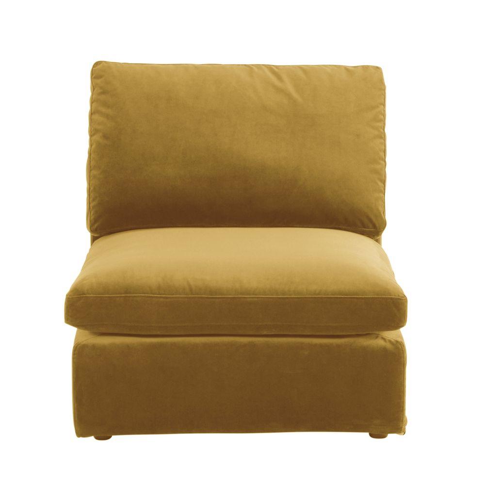 Chauffeuse pour canapé modulable en velours jaune