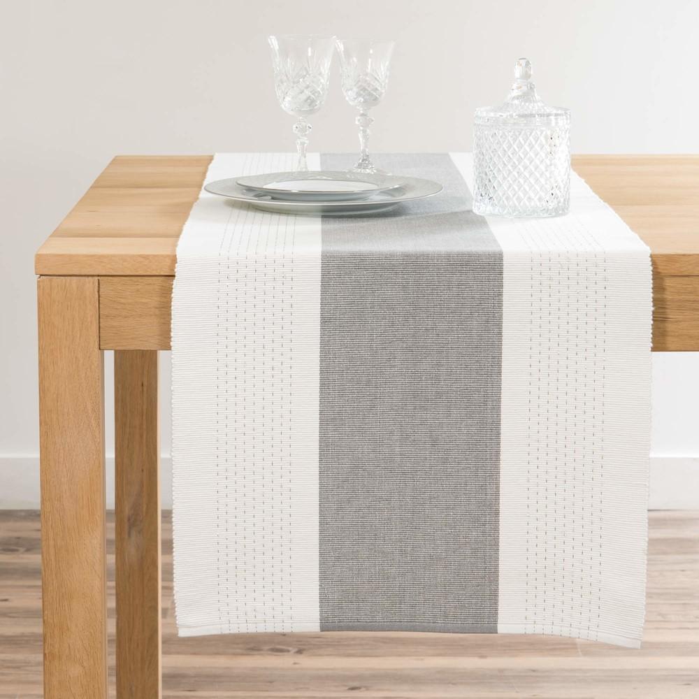 Chemin de table blanc et gris L150