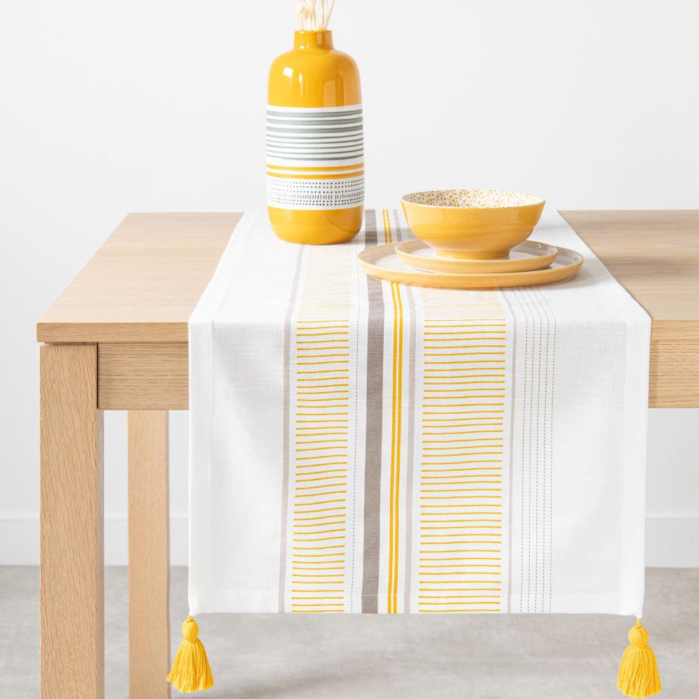 Chemin de table en coton à motifs 48x150