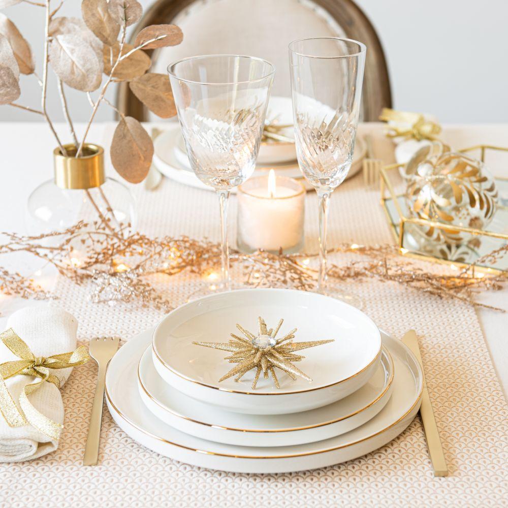 Chemin de table en coton à motifs dorés 40x150