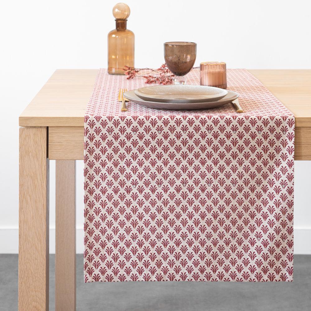 Chemin de table en coton à motifs fantaisies rouges et dorés 45x150