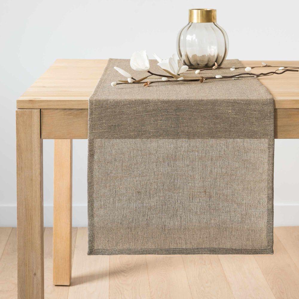 Chemin de table en coton beige 45x150