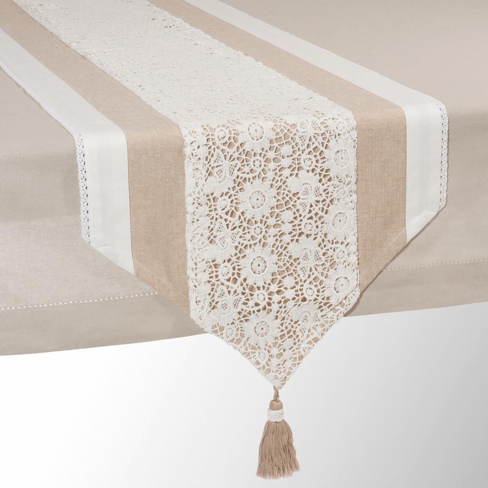 Chemin de table en coton beige L 150 cm