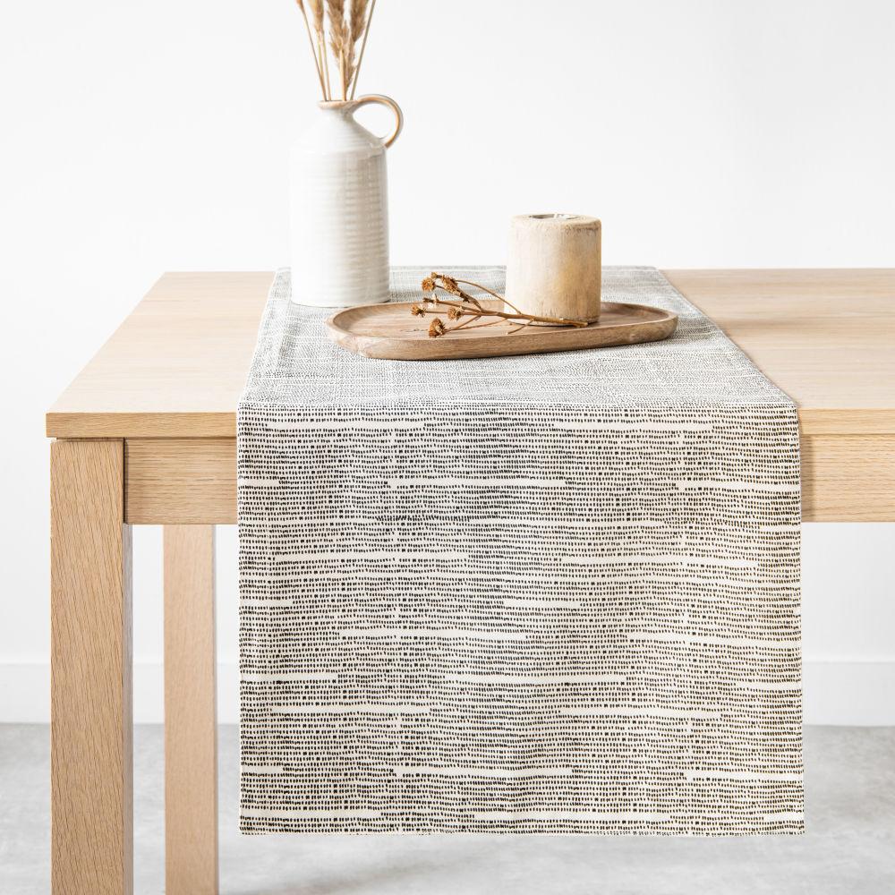 Chemin de table en coton bio beige chiné et gris 45x150