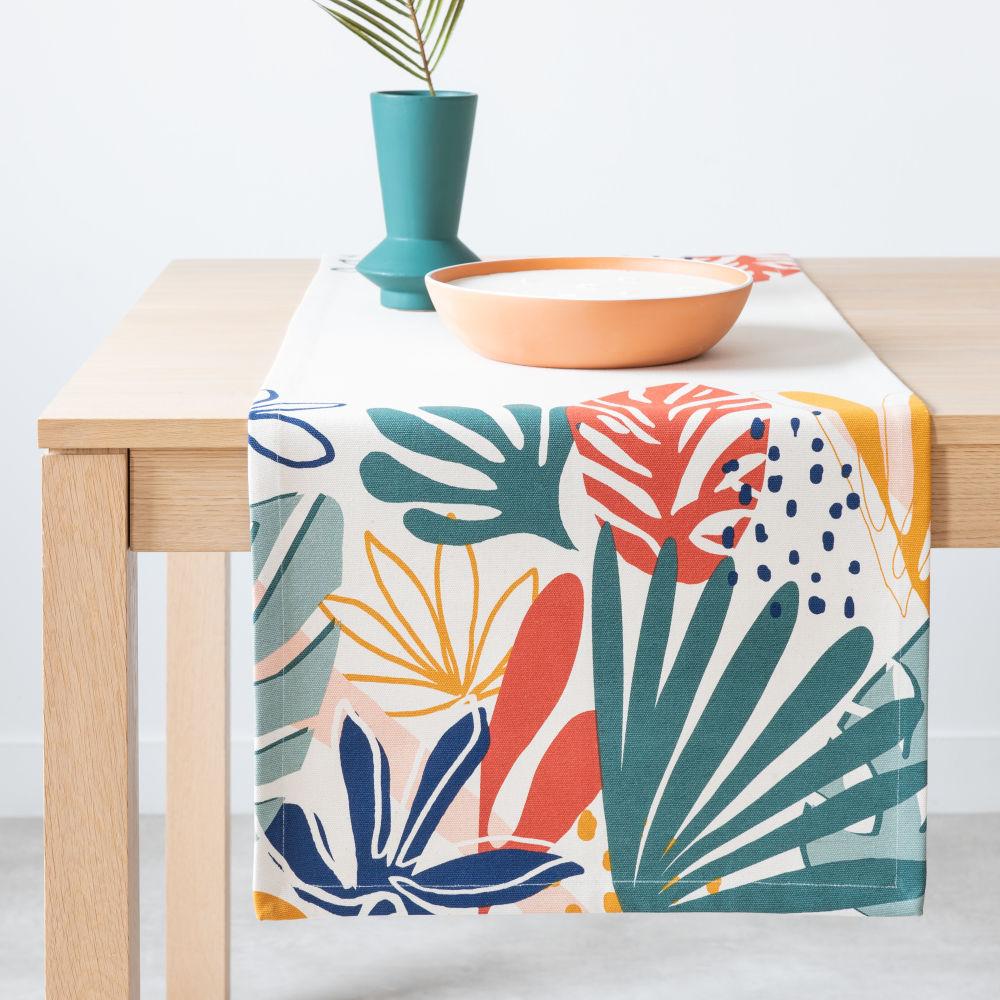 Chemin de table en coton bio imprimé feuillage multicolore 48x150