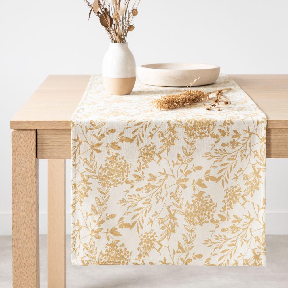 Chemin de table en coton bio imprimé floral 45x150