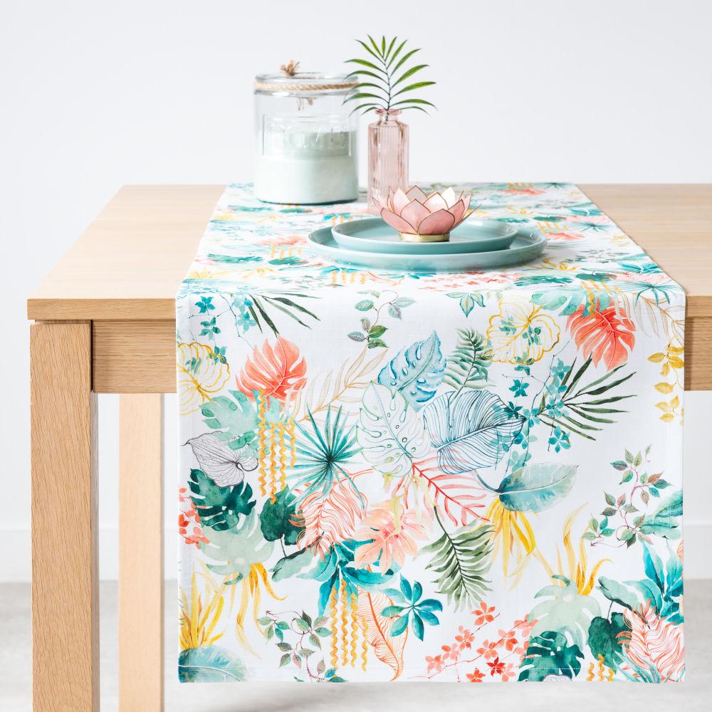 Chemin de table en coton bio imprimé multicolore 48x150