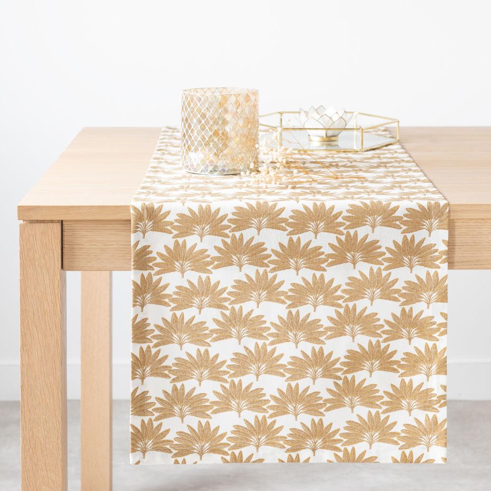 Chemin de table en coton bio imprimé palme 45x150