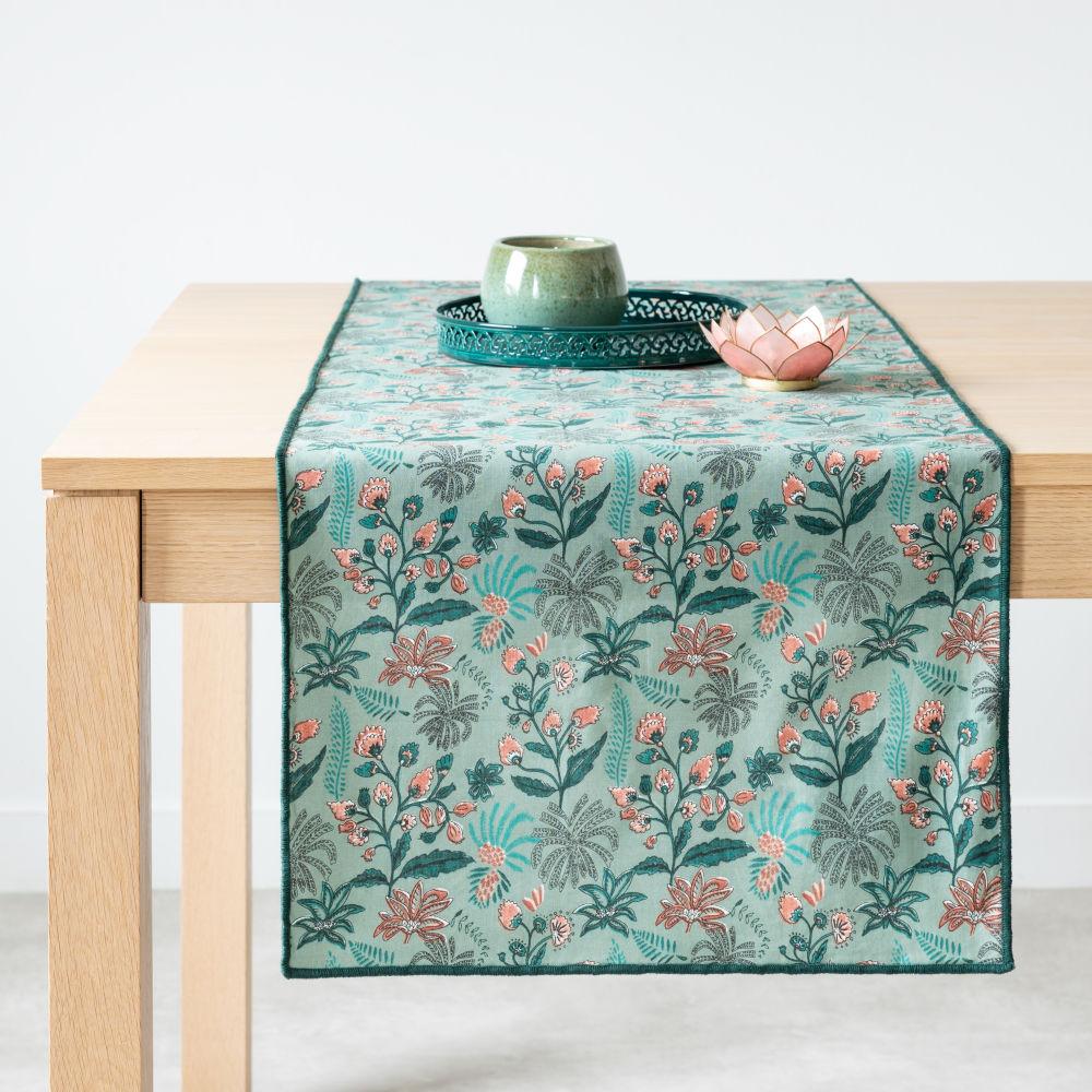 Chemin de table en coton bio imprimé végétal multicolore 45x150