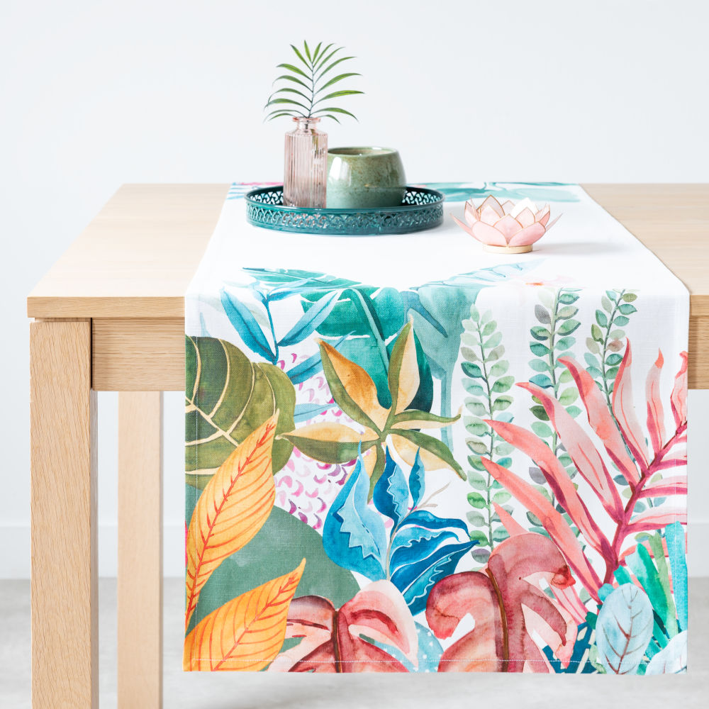 Chemin de table en coton bio imprimé végétal multicolore 48x150