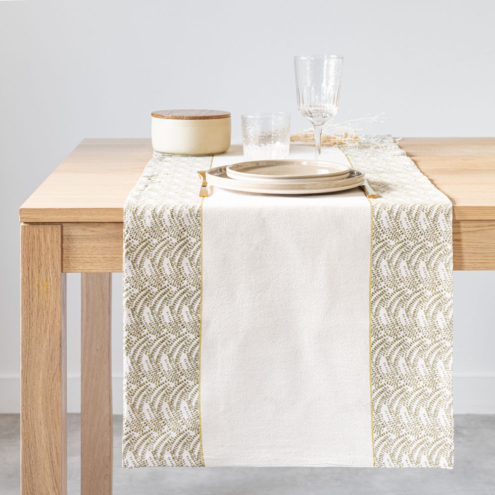 Chemin de table en coton bio vert et écru 48x150