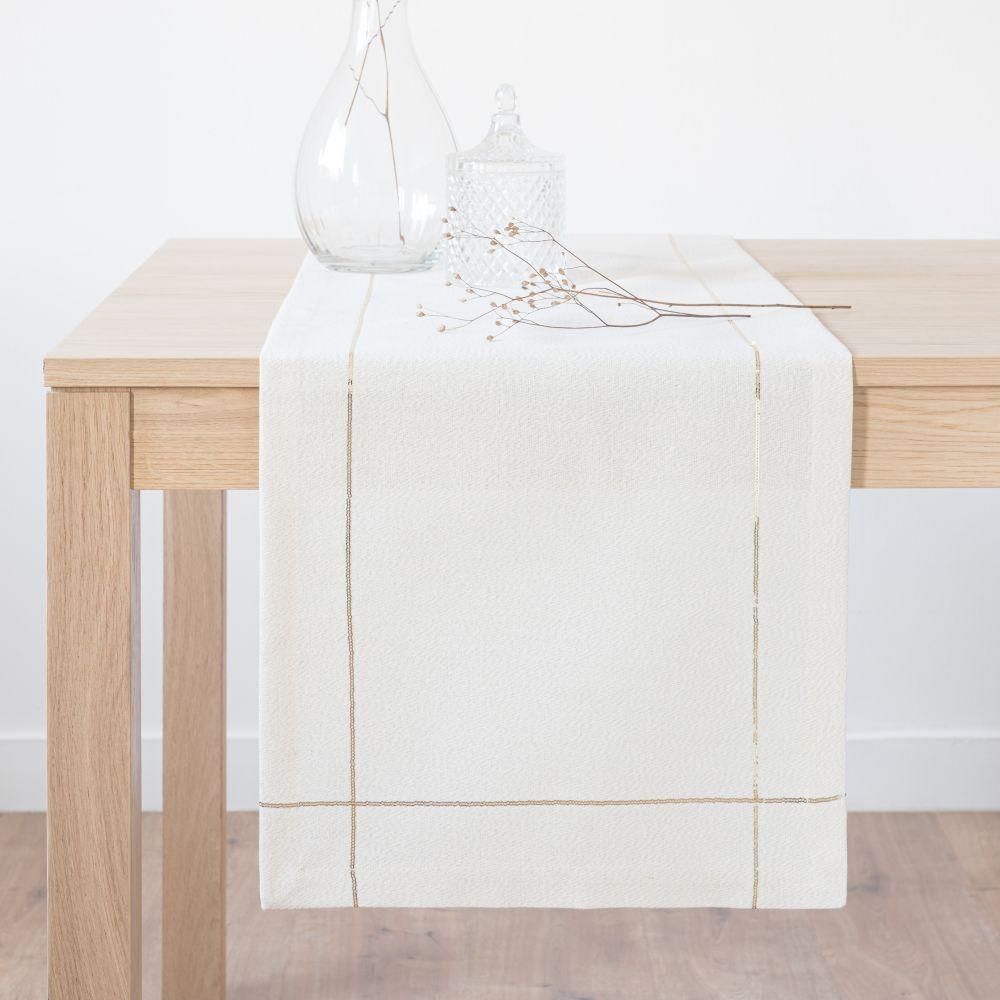Chemin de table en coton blanc cassé et doré 40x150