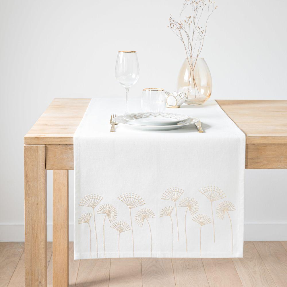 Chemin de table en coton blanc motifs palmiers dorés 48x150