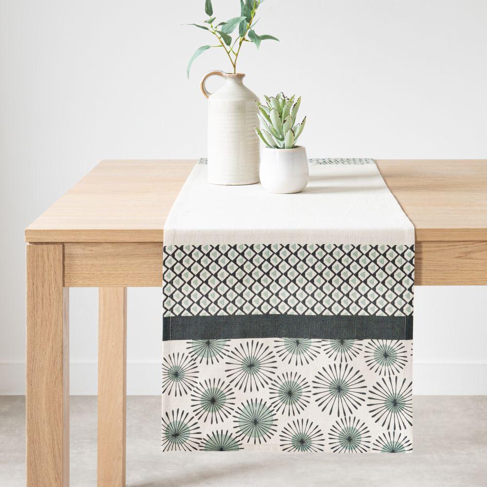 Chemin de table en coton bleu, bleu vert et blanc 40x150