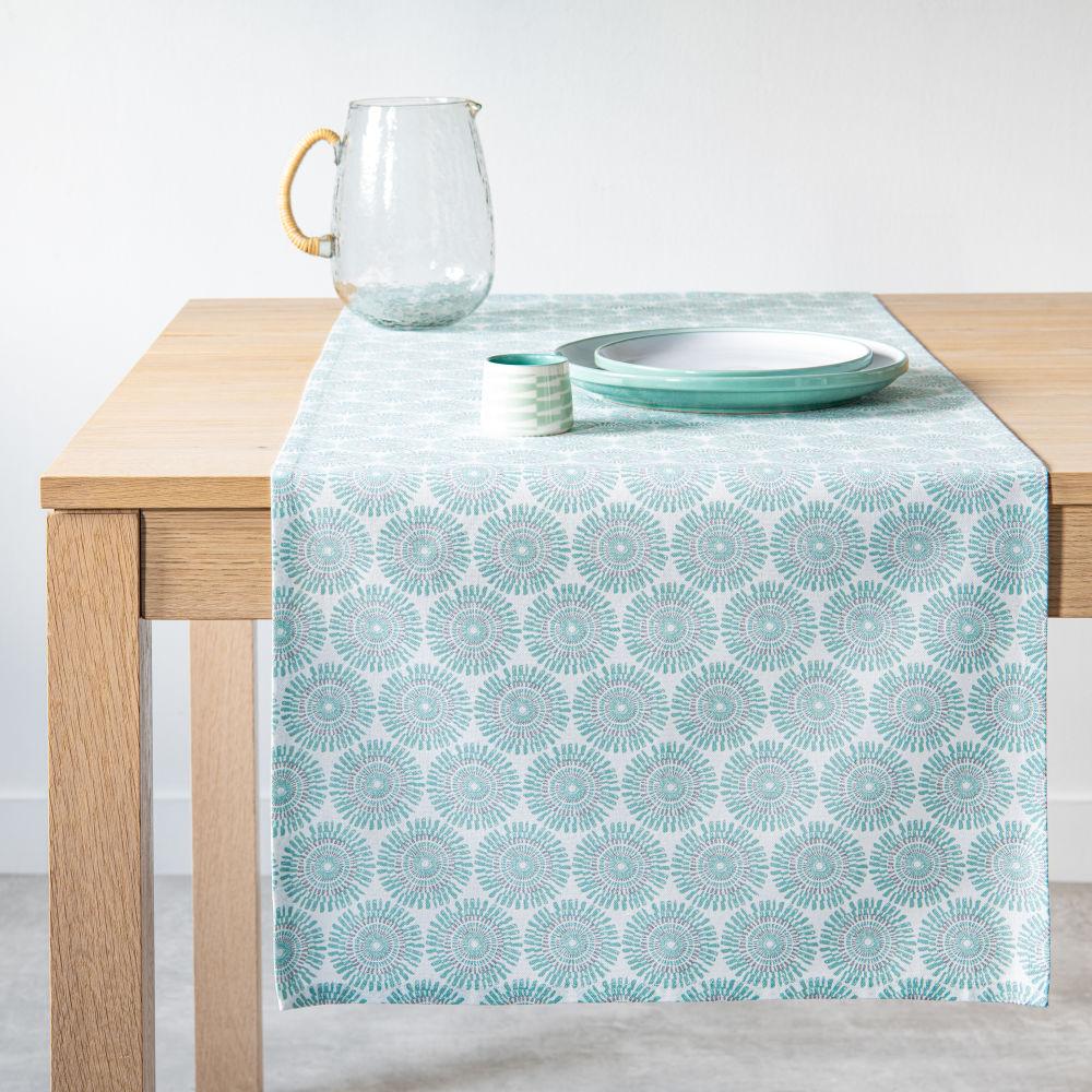 Chemin de table en coton bleu et blanc 45x150