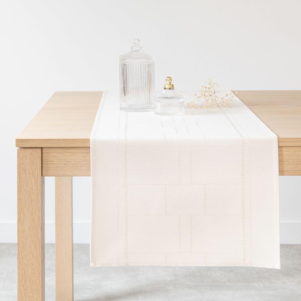 Chemin de table en coton écru et doré 40x150