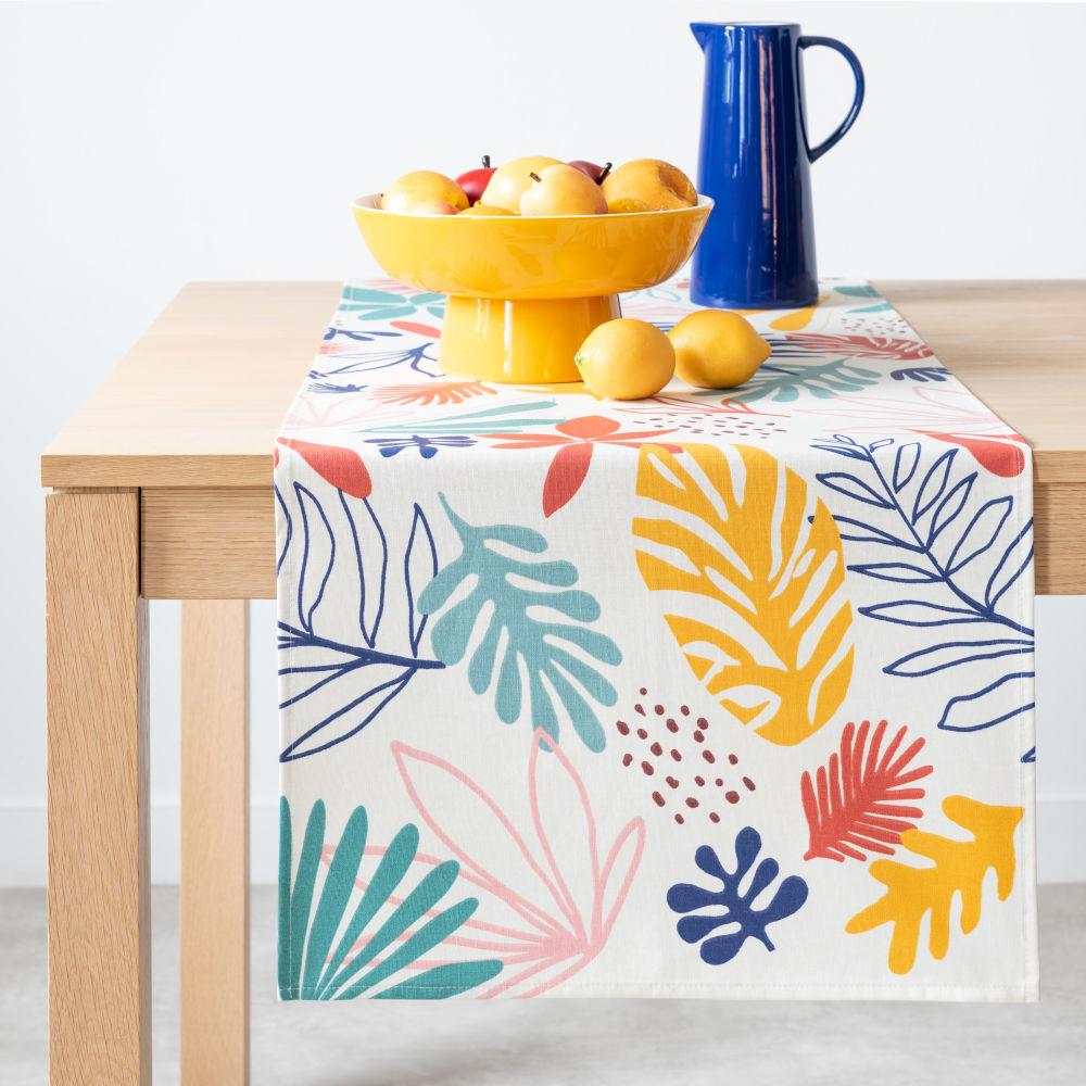 Chemin de table en coton enduit imprimé multicolore 48x150