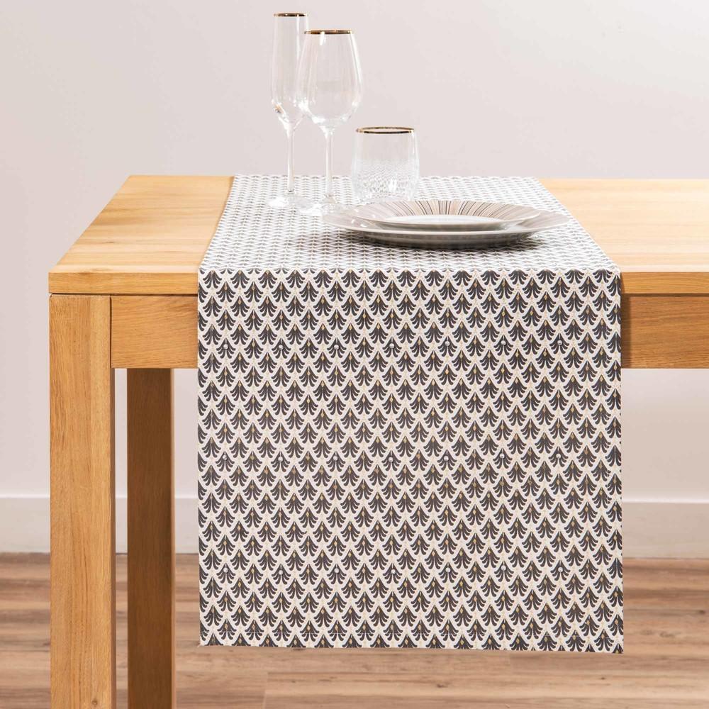 Chemin de table en coton gris à motifs L150