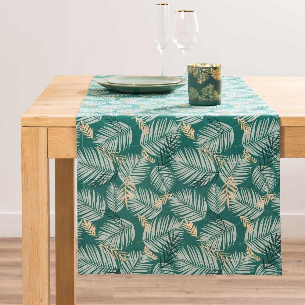 Chemin de table en coton imprimé feuillage L150