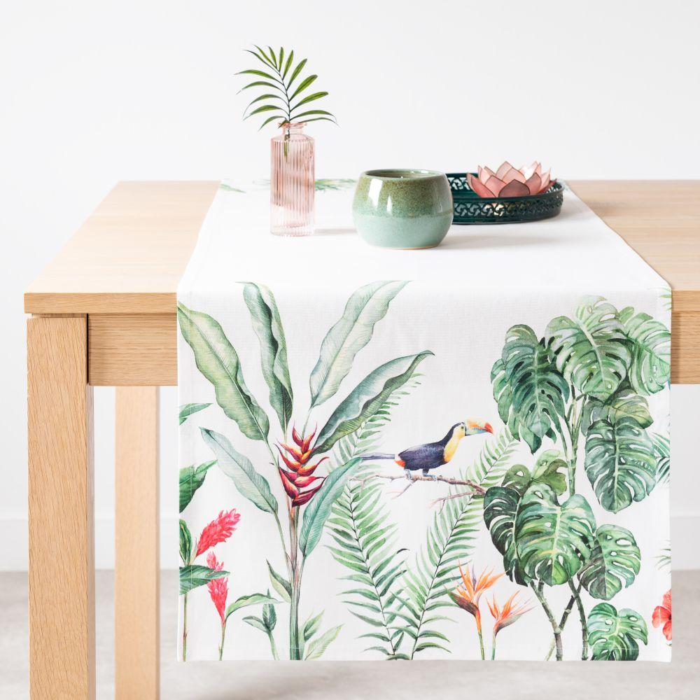 Chemin de table en coton imprimé tropical 48x150