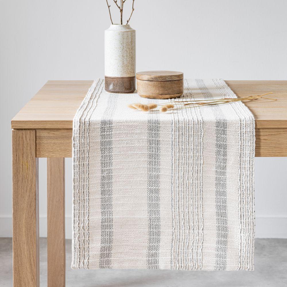Chemin de table en coton tissé écru et gris anthracite 45x150