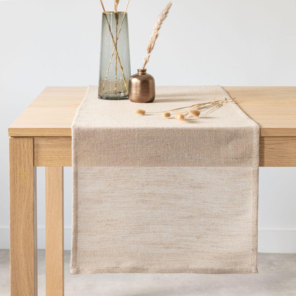Chemin de table en jute et coton tissés beiges, blancs et argentés 45x150