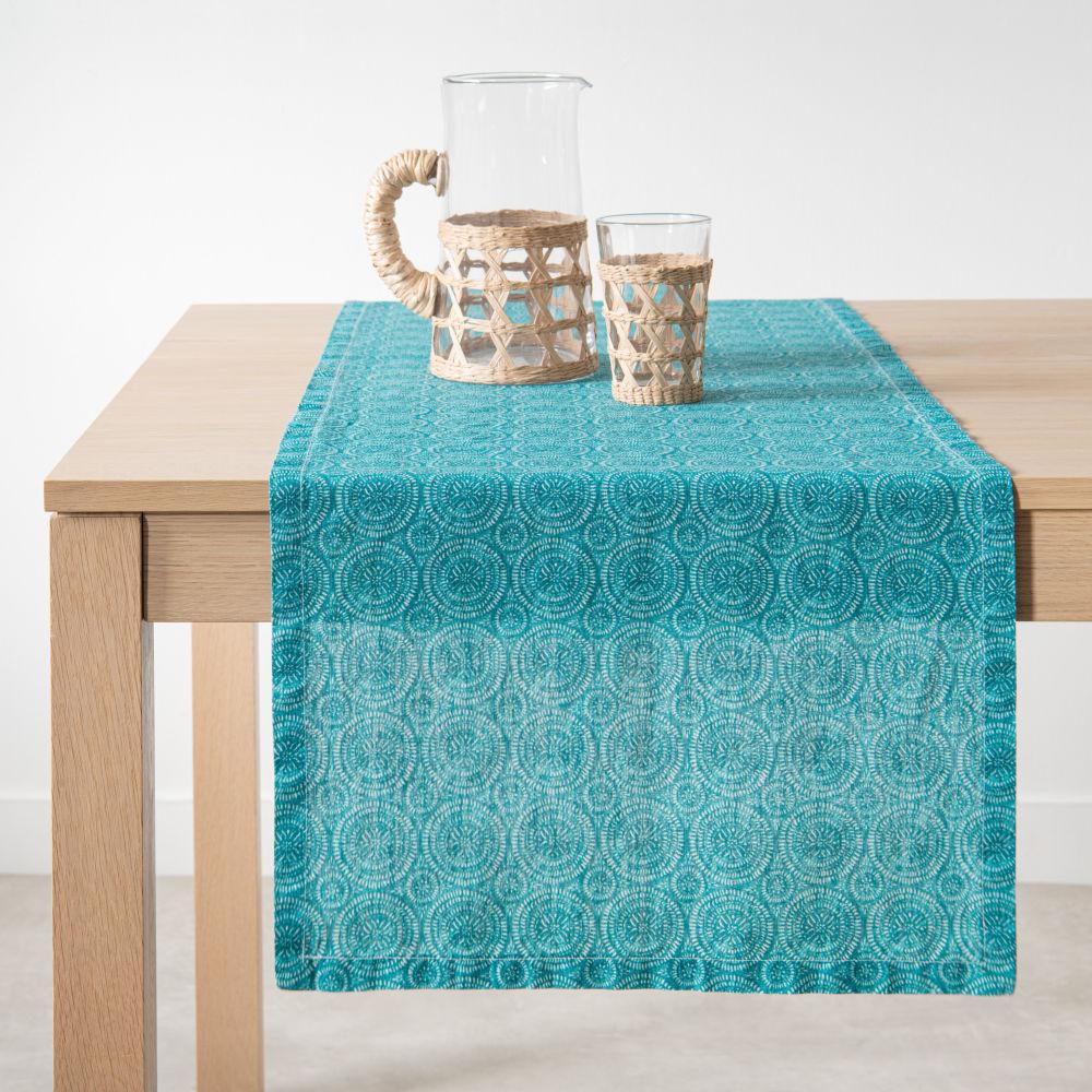 Chemin de table en lin imprimé graphique bleu 45x150