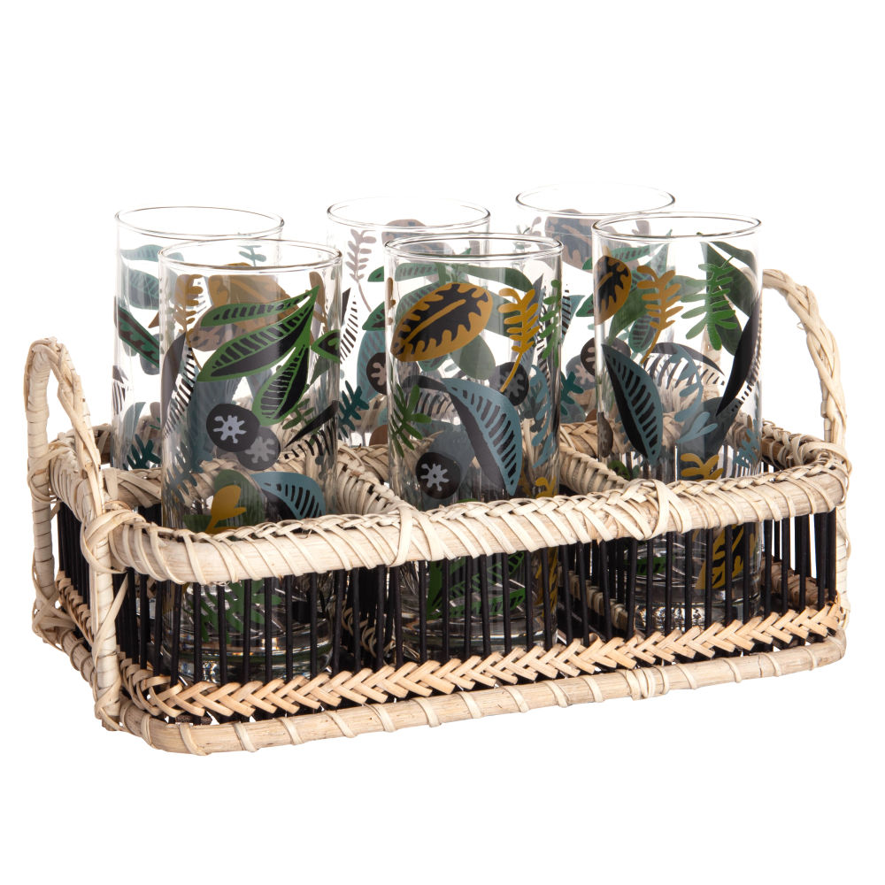 Chopes en verres motif végétal multicolore (x6) et support en bambou