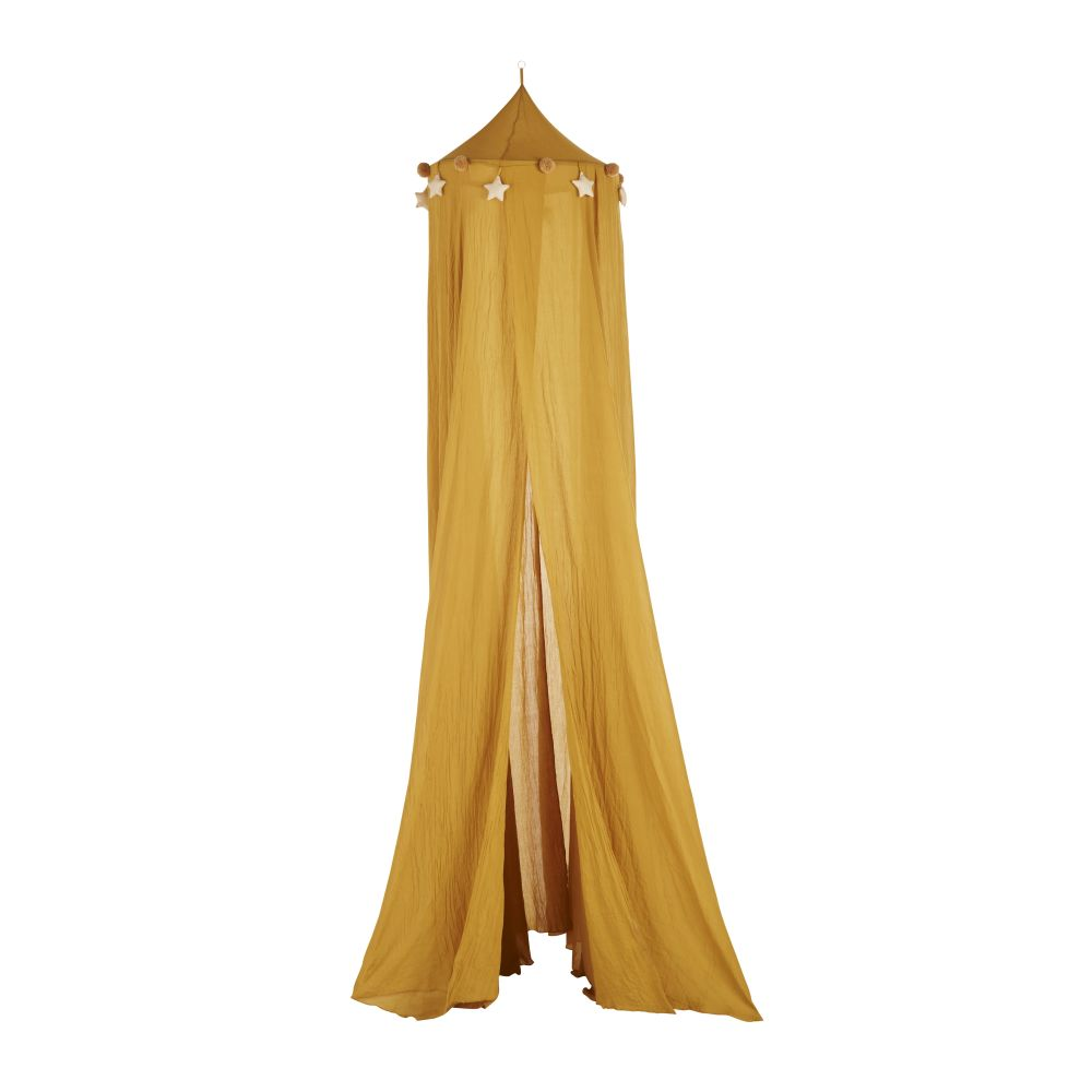 Ciel de lit jaune moutarde suspensions étoiles et pompons