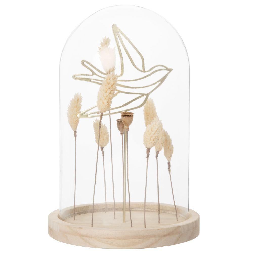 Cloche en verre et pauwlonia hirondelle et épis de blé en métal doré