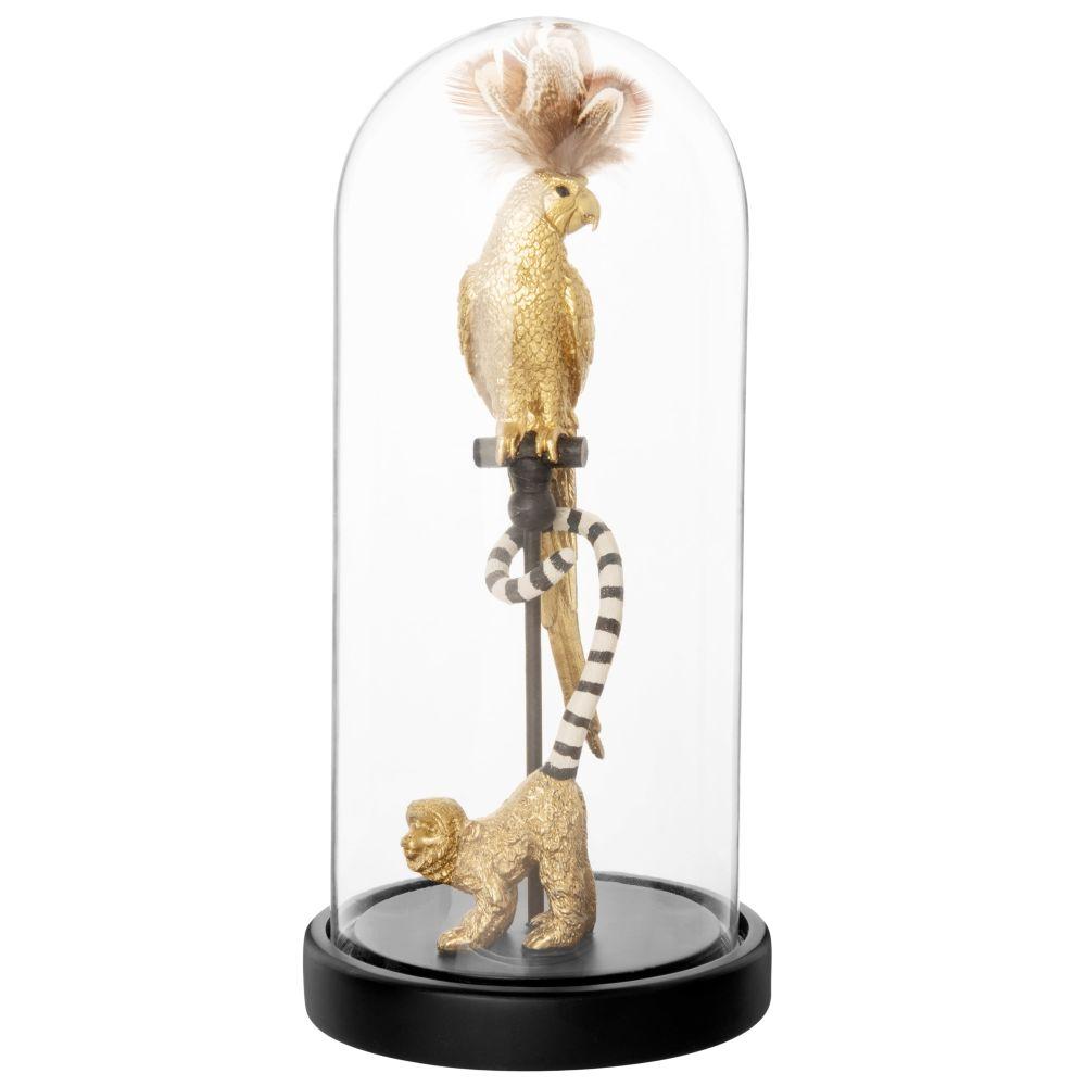 Cloche en verre et perroquet et singe doré