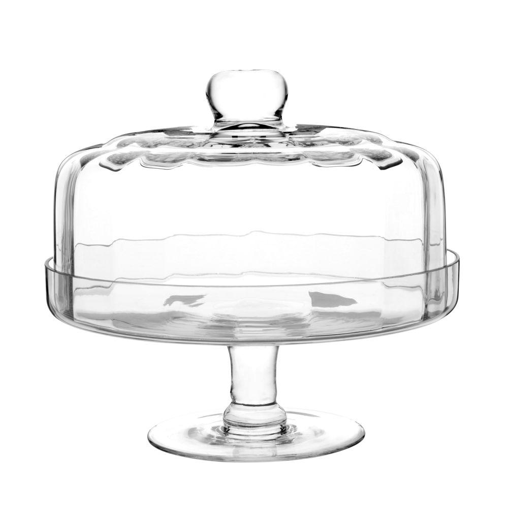 Cloche sur pied en verre taillé