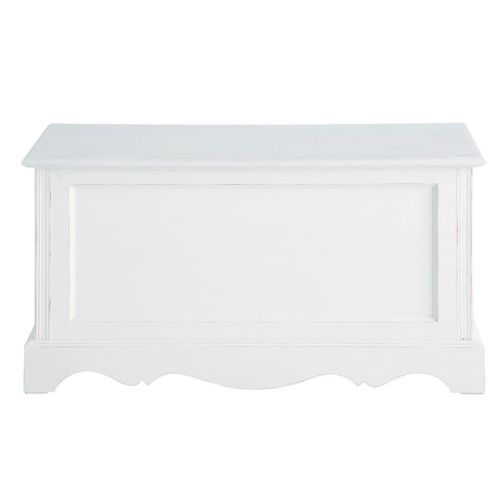 Coffre en bois de paulownia blanc L 80 cm