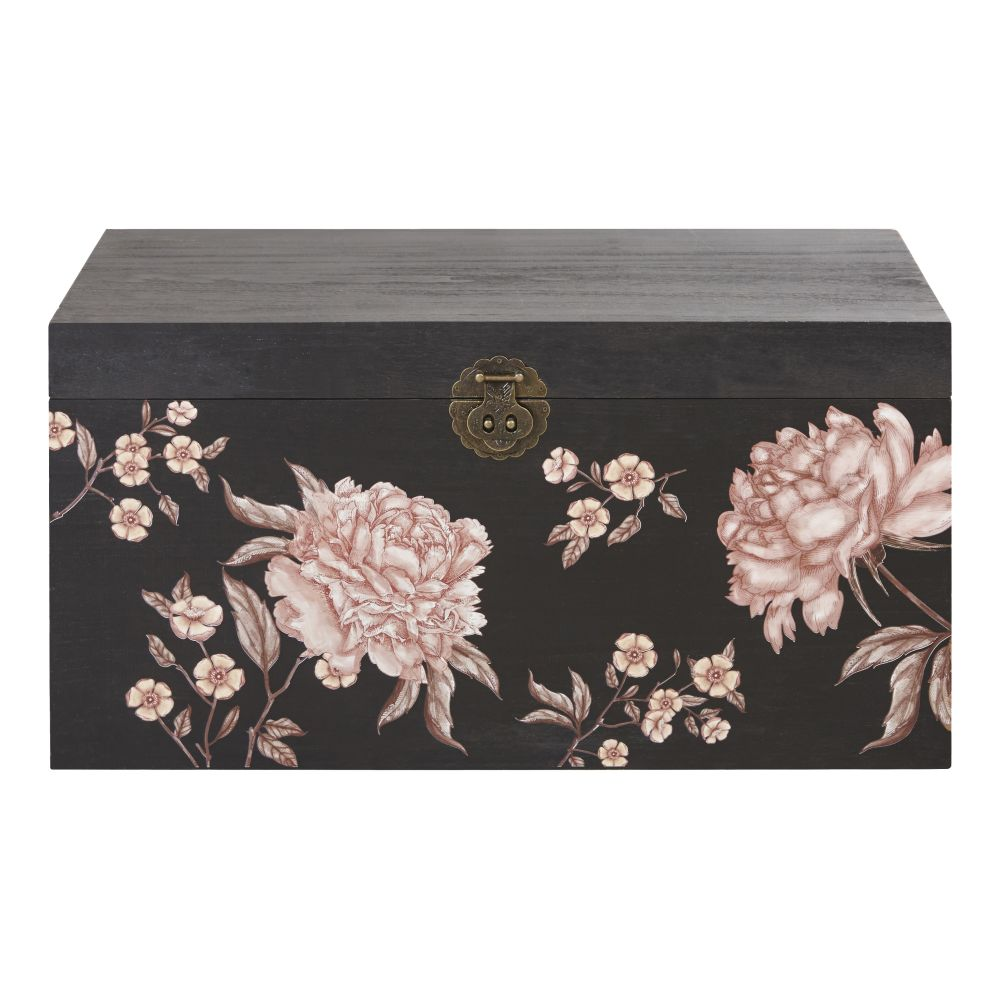 Coffre noir imprimé floral multicolore