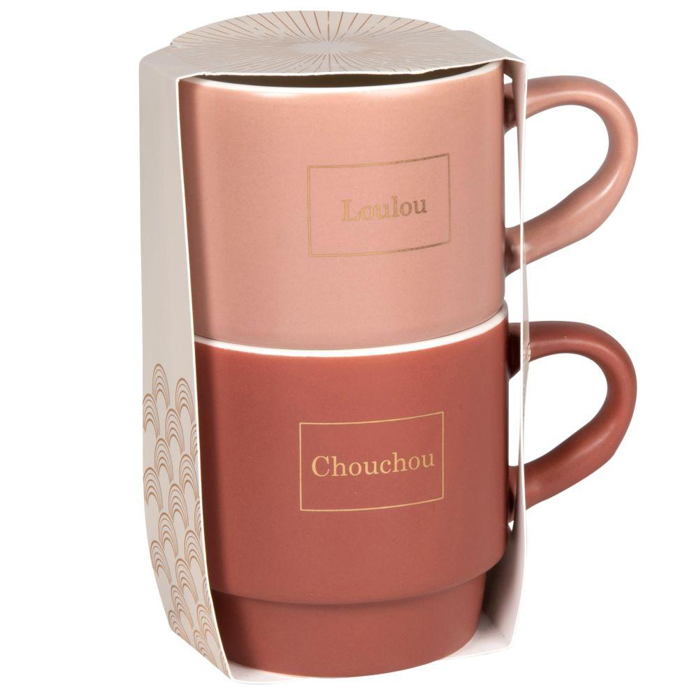 Coffret 2 tasses en porcelaine rose