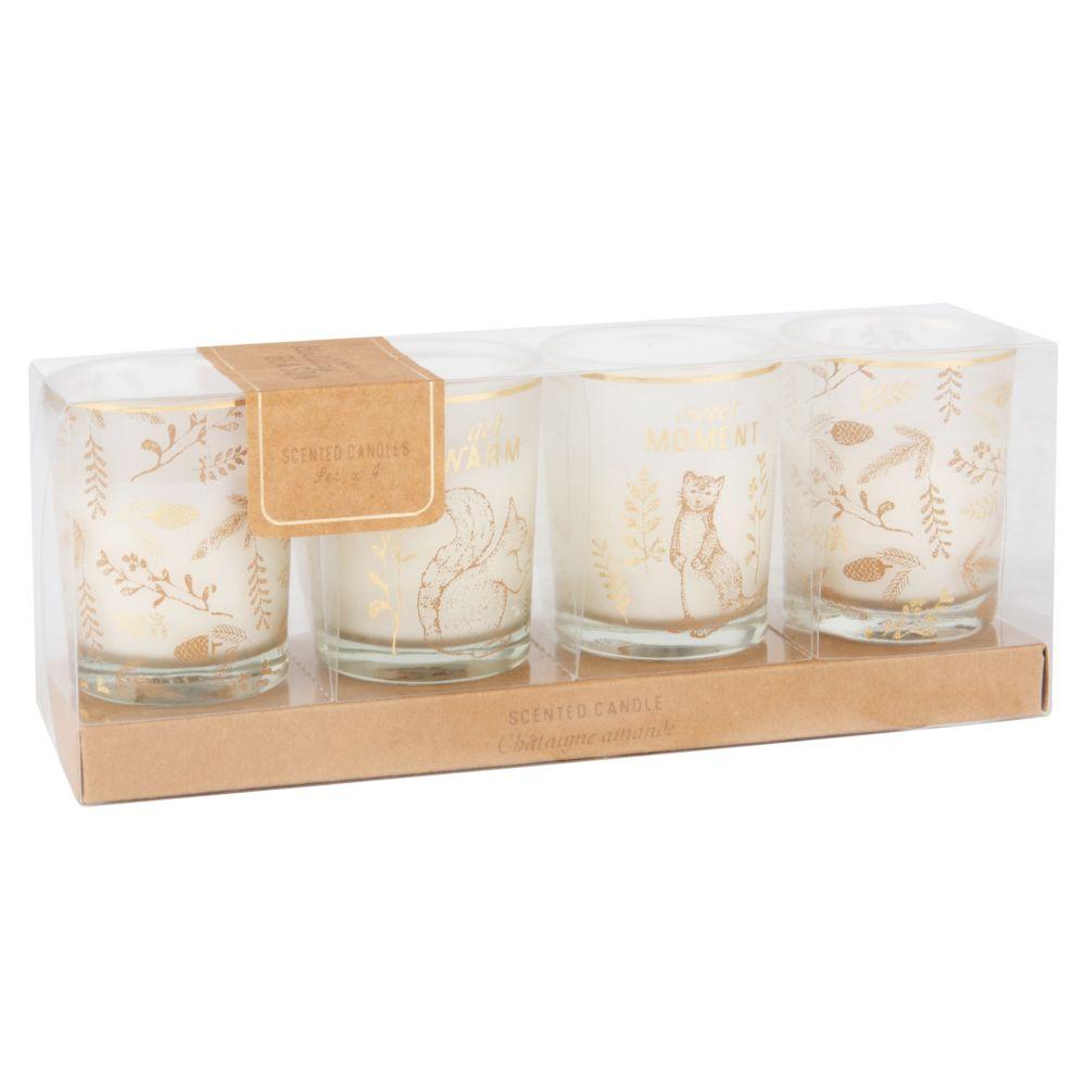Coffret 4 bougies parfumées lumignons en verre imprimé