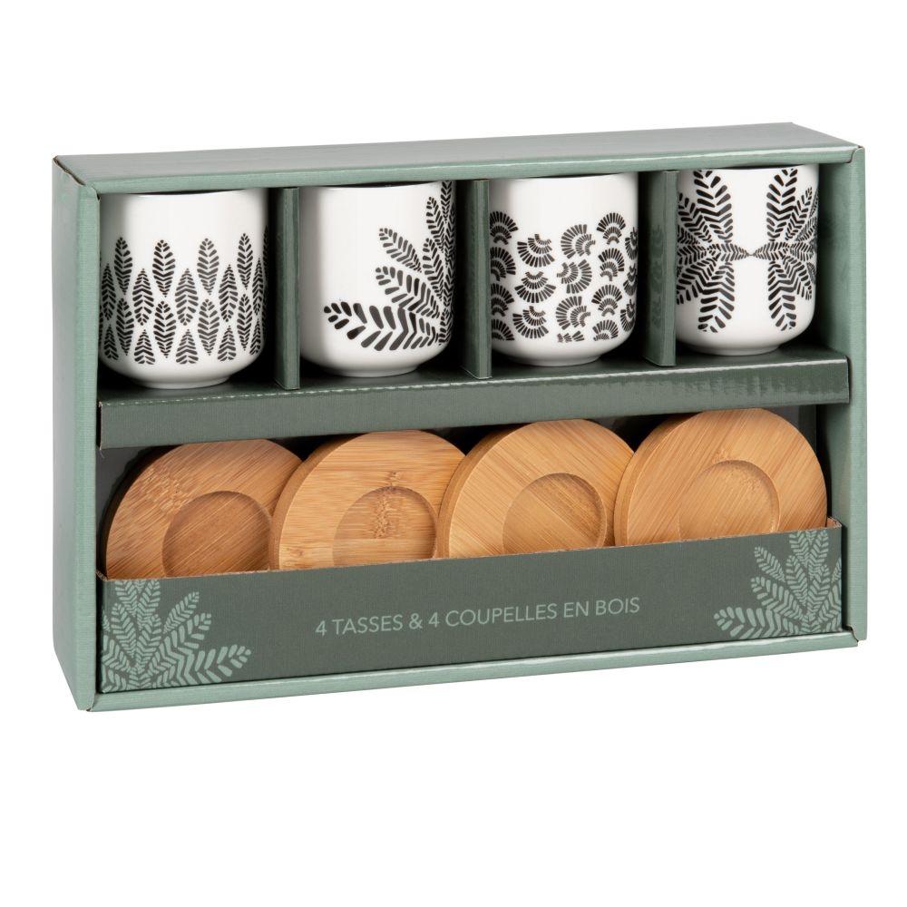Coffret 4 tasses en porcelaine noire et blanche et soucoupes en bambou