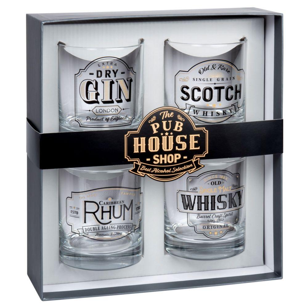 Coffret 4 verres à whisky en verre imprimé
