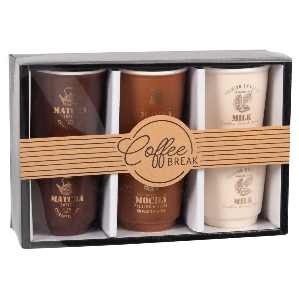 Coffret 6 tasses à café en porcelaine marron, blanche et brune