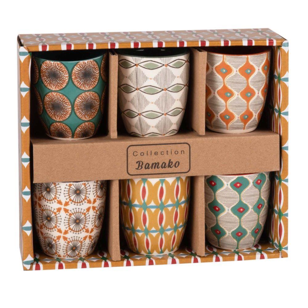 Coffret 6 tasses en faïence multicolore