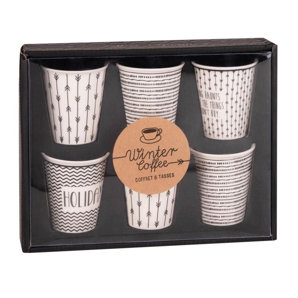 Coffret 6 tasses en porcelaine blanche motifs noirs