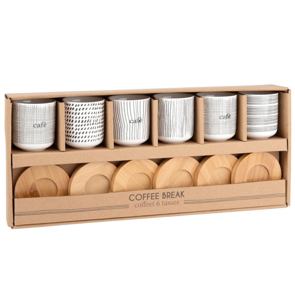 Coffret 6 tasses en porcelaine et soucoupes en bambou